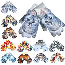 New 1Pair Warm 3D Print Knitted Touch Gloves Men Women Screen Glove Unisex Multicolor