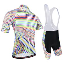 New Cycling Jersey Set Summer Pro Team Bike Jersey Short Sleeve Sportswear Ropa Ciclismo Striped Style Cycling Clothing BXIO 196 цена