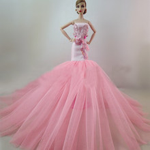 Chic Wedding Dress for Barbie Doll Princess Evening Party Clothes Wears Long Dress Outfit Set for Barbie Doll High Quality(China)
