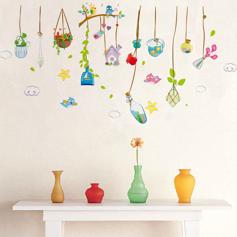 crystal pendant plants flower pots wall stickers girls rooms restaurant home decor self adhesive window decals bosai arts decor