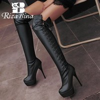 RIZABINA Plus Size 33 46 Black White Over The Knee Boots Platform Thin Heels Shoes Women High Quality Cross Strap Boots Footwear
