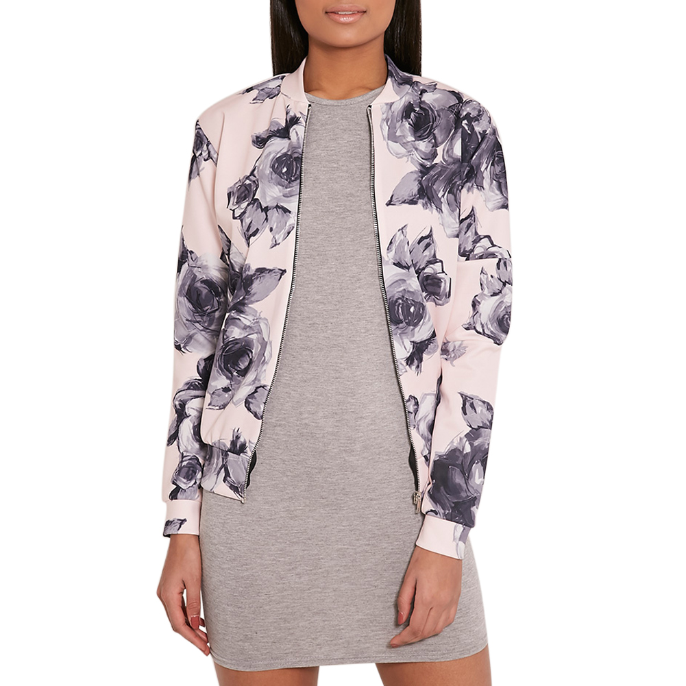 2018 Autumn Basic Coat Women Long-Sleeved Short Tops Windbreaker Camouflage Floral Print Women Jacket Ladies Bomber Jackets