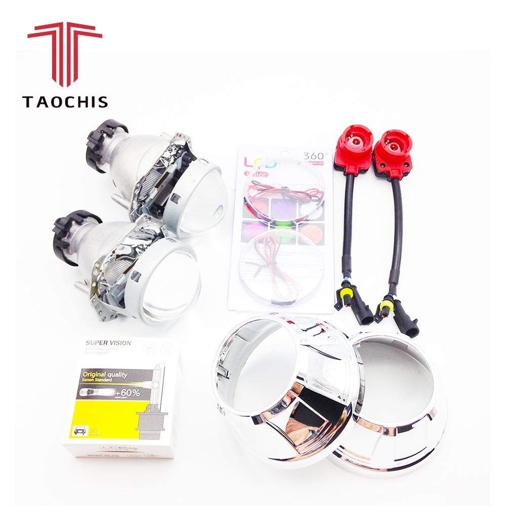 TAOCHIS 3.0 inch Bi-xenon Hella 3R G5 Projector Lens HID D2S Shroud Devil Eyes Head Lamp Upgrade Super Lens Demon eye