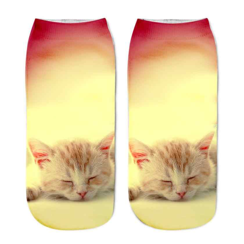 Feitong 1 ペアカジュアル女性の低カットショートソックス 3D プリント動物猫アンクレット靴下レディースショートソックスアート画像女の子