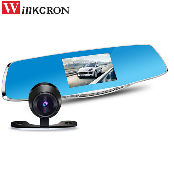 Best 4.3 Dash Cam DVR Review Mirror Digital Video Recorder Night vision + Full HD 1080P Rear Camera image