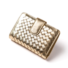 Gold Women Wallets Luxury Brand Designer Purse Real Genuine Leather Women Small Short Wallets Ladies Female Money Clip Wallet