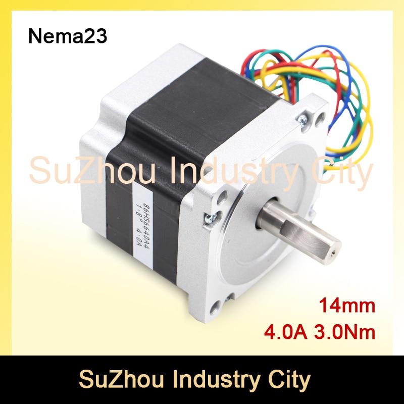 CNC Motor NEMA 34 stepper motor 86X66mm 3 N.m 4A  D14mm nema34 stepping motor 428Oz-in for CNC engraving machine and 3D printer! china stepper motor nema34 12nm 1714oz in 2 phase 4 2a d 15 87 86hs120 for cnc engraving machine