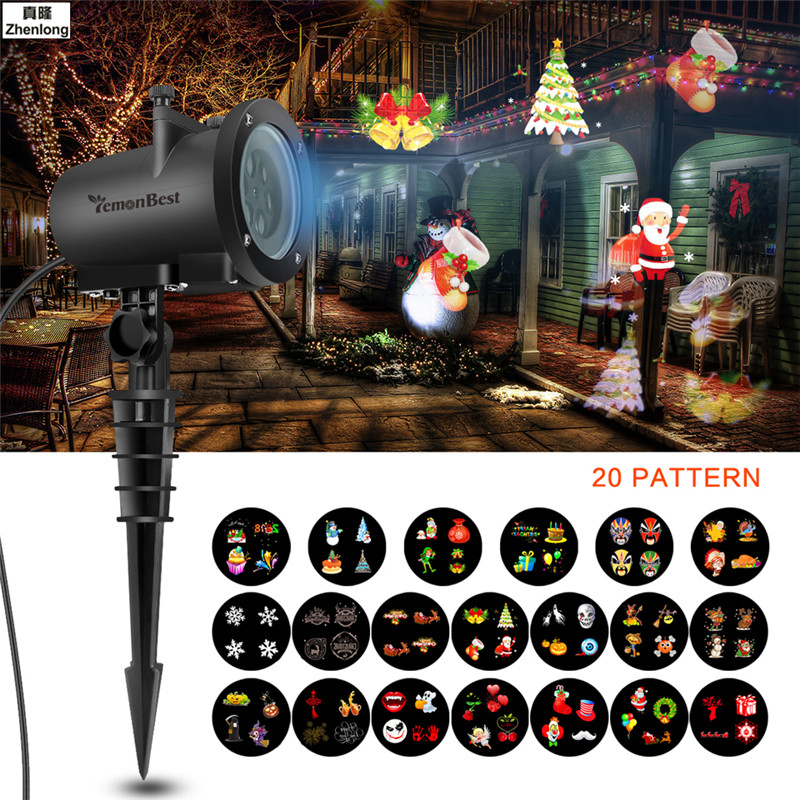 20 Pattern 12W Mery Christmas Lights Outdoor LED Snowflake Projector Light Lawn Lamp IP65 Landscape Garden Waterproof Spot Bulbs 12v 50w colored rgb outdoor lights 110v wall projector flood light garden waterproof landscape lamp remote control by dhl 6pcs