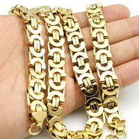55cm 11mm 18k Gold Huge Heavy Long 316L Stainless Steel Men S Byzantine Chain Necklaces 316L