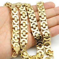 AMUMIU 11mm Gold Huge & Heavy Long Stainless Steel Byzantine Men Chain Necklace 316L Stainless Steel Jewelry Golden KN016
