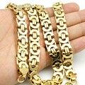 Amumiu 11mm ouro enorme & pesado longo aço inoxidável bizantino masculino corrente colar 316l aço inoxidável jóias ouro kn016