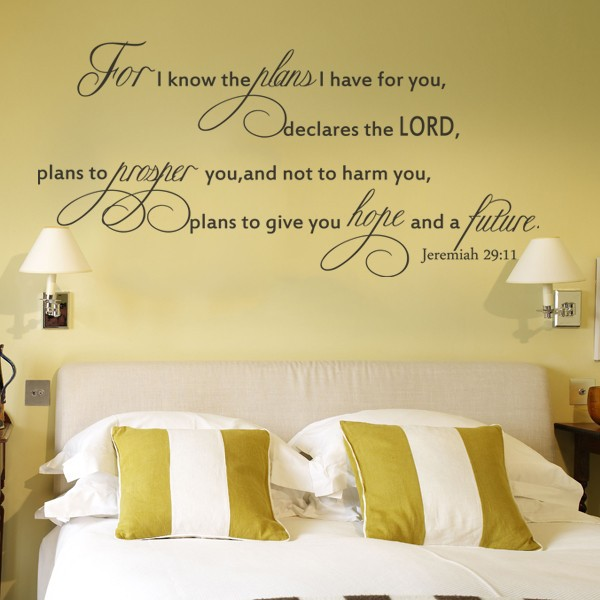 For I Know the plans for You Jeremiah 29:11 Wall Art Decal Bible ...