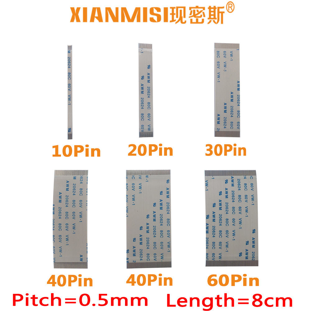 FFC/FPC Flat Flex Cable 10Pin 20Pin 30Pin 40Pin 50Pin 60Pin Same Side 0.5mm Pitch AWM VW-1 20624 20798 80C 60V Length 8cm 5PCS 2 pcs 125 mm 60 pin 0 5mm pitch ffc cable flat ribbon flat cable same sides 60p for ffc connector ul style 20624