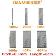 FFC/FPC Flat Flex Cable 10Pin 20Pin 30Pin 40Pin 50Pin 60Pin Same Side 0.5mm Pitch AWM VW-1 20624 20798 80C 60V Length 8cm 5PCS