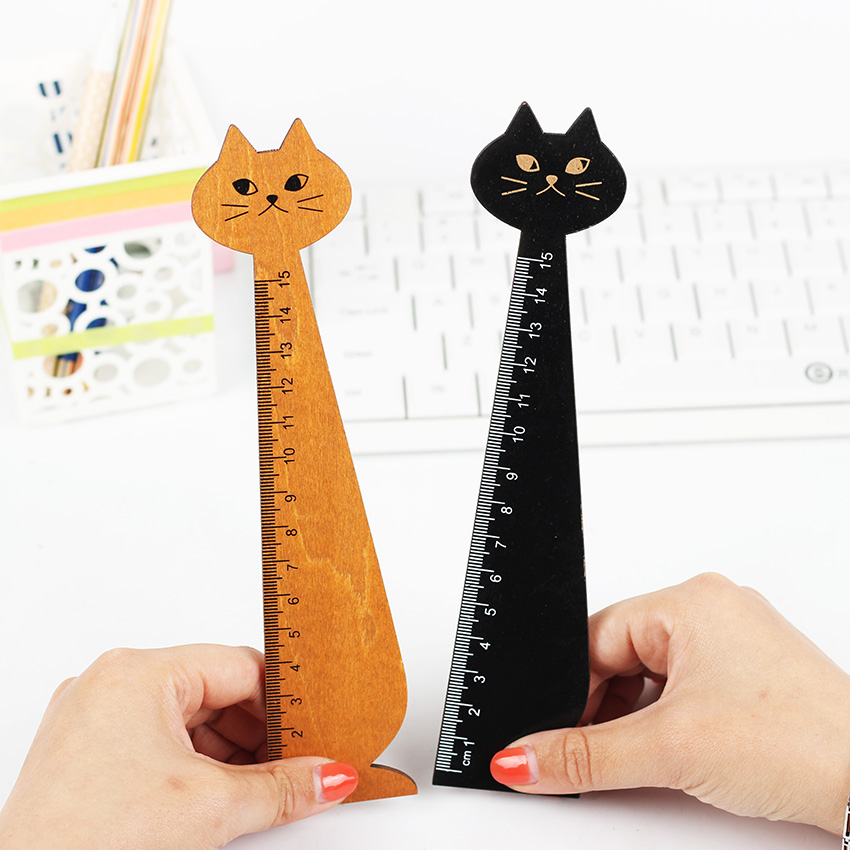 Creative Cute Wood Animal Straight Ruler Lovely Cat Shape Ruler Gift for Kids School Supplies Stationery Black Yellow 2 Colors
