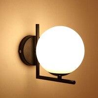 חדר שינה מנורת זכוכית כדור קיר אורות לבית תאורת ברזל מראה בחדר אמבטיה אורות Applique דה Pared בר Wandlamp Aplik Lamba