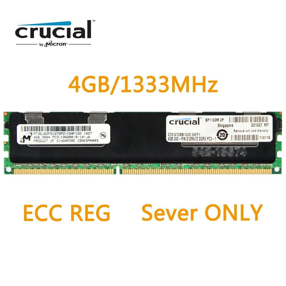 Crucial RAM DDR3 4 gb SDRAM ECC REGISTERED DDR3 8 gb Mémoire 1333 (PC3 10600) pour les Serveurs Modèle CT51272BB1339