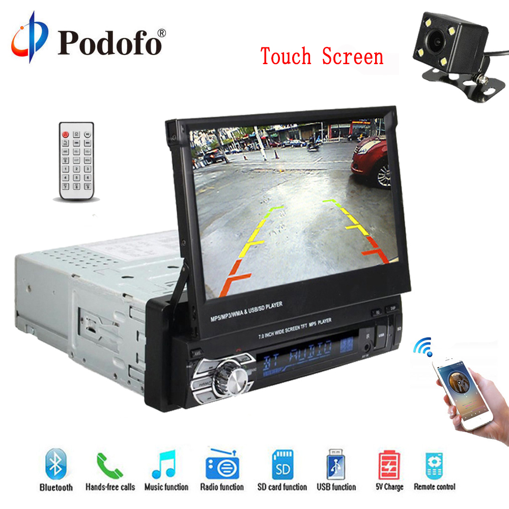 Podofo 1 din 7 Universel Autoradio navigation gps Autoradio lecteur vidéo Bluetooth Rétractable écran tactile MP5 Stéréo Audio
