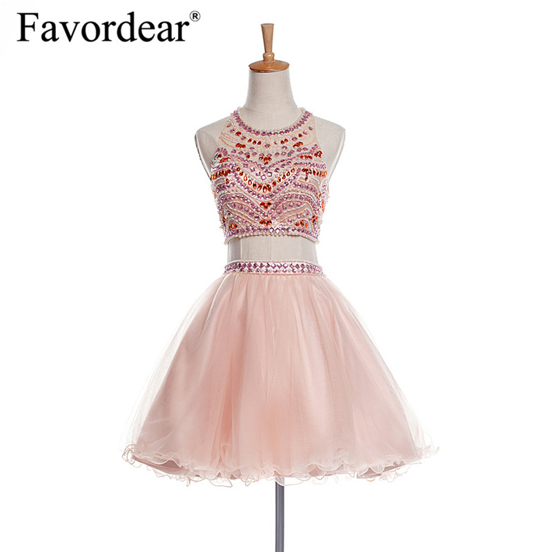 Favordear Two Pieces Pearls Formal   Dress   Backless Beadings   Cocktail     Dresses   2018 Sexy Vestidos Cortos Para Fiesta