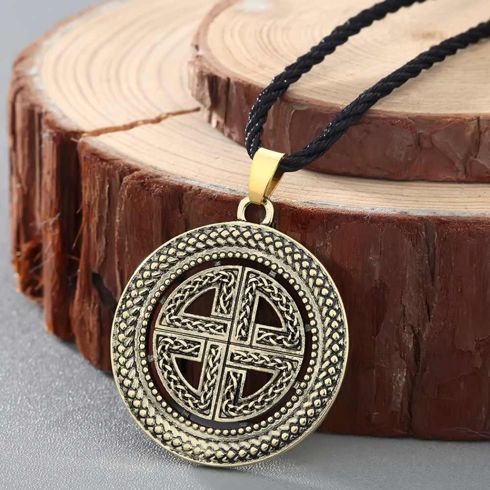 Qiming Sheild Simpul Asatru Celtic Liontin Pesona Kalung Simpul Liontin Celtic Perhiasan Celtic Perisai Cross Kalung Collier