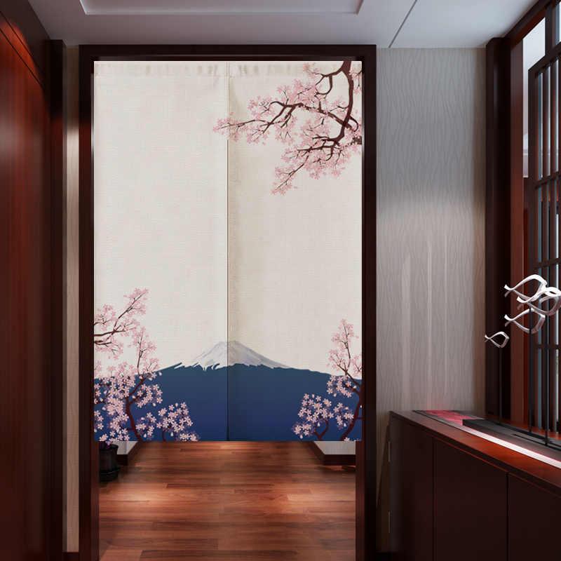 Японский Ukiyo-e льняной дверной занавес Норен шторы для спальни, кухни домашний вход украшения настраиваемый занавес