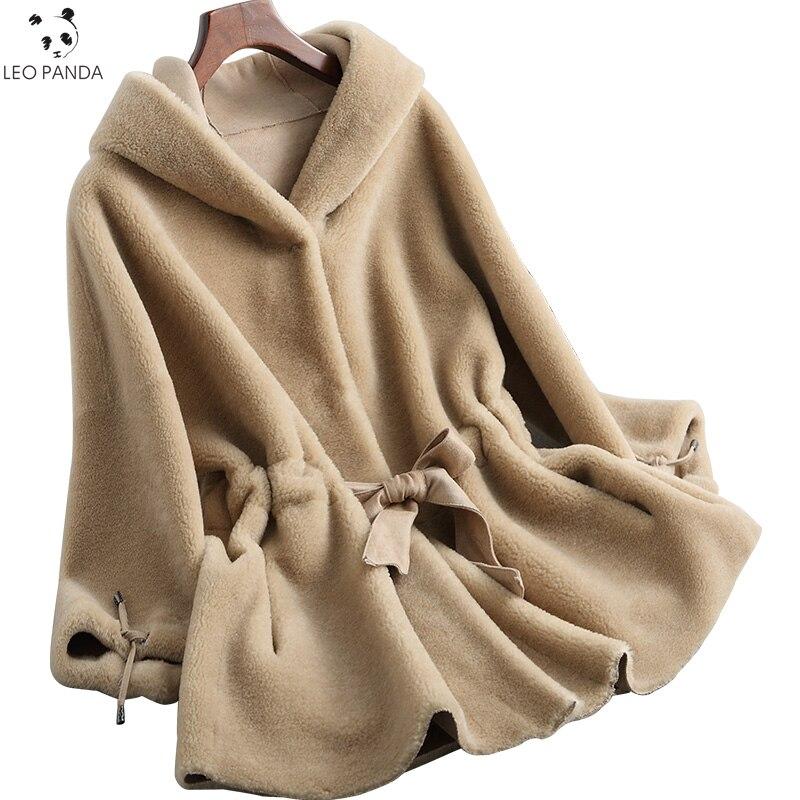 Capuche Hiver En Solide Manteaux Taille Agneau camel Femelle Fourrure Manteau À Green black Veste 2019 Mince Mode Nouvelle Femmes Véritable Plus Daim Boutique Laine Dame De HdaqCqw