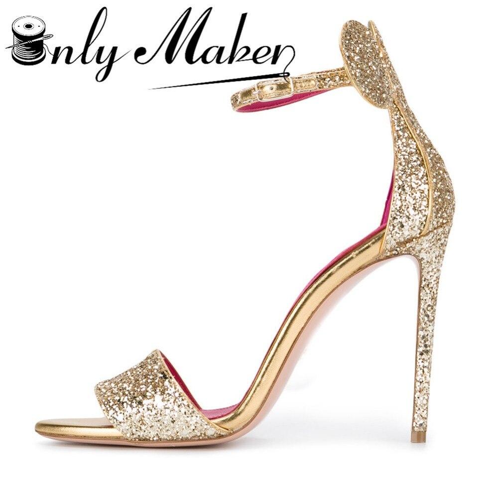 63e22757c Купить Onlymaker Женские туфли на сверкающем высоком каблуке Свадебная обувь  с блестками Босоножки роскошные золотые Цвет 12 см свадебные туфли Цена  Дешево.