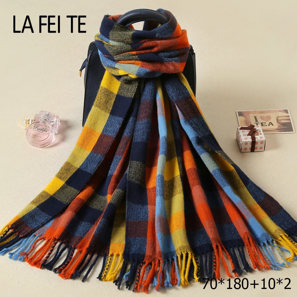 Lic Plaid Pashmina Cashmere Winter Women Scarf Warm Shawl Kerchief Foulard Femme Neck Stole Cotton Long Blanket Scarf For Women