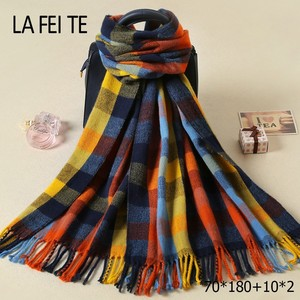 Lic Plaid Pashmina Cashmere Winter Women Scarf Warm Shawl Kerchief Foulard Femme Neck Stole Cotton Long Blanket Scarf For Women(China)
