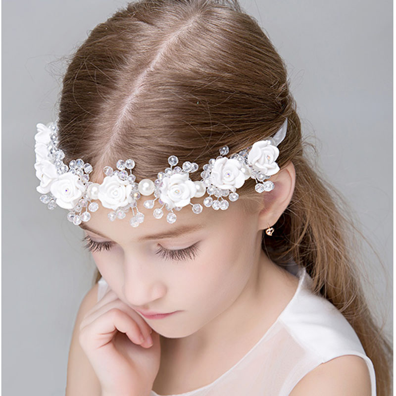 Metting Joura Girls Kids Wedding Party Floral Headband Dressy Accessories Crystal Beads Hair Band Hair Jewelry metting joura vintage bohemian ethnic tribal flower print stone handmade elastic headband hair band design hair accessories