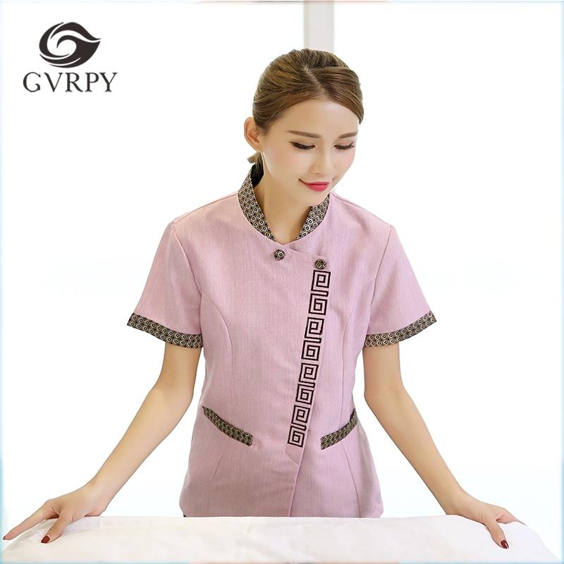 New Spliced Short-sleeve Waiter Uniform Summer Cleaning Work Uniform Hotel Restaurant Waiter Overalls Plus Size Housework Jacket