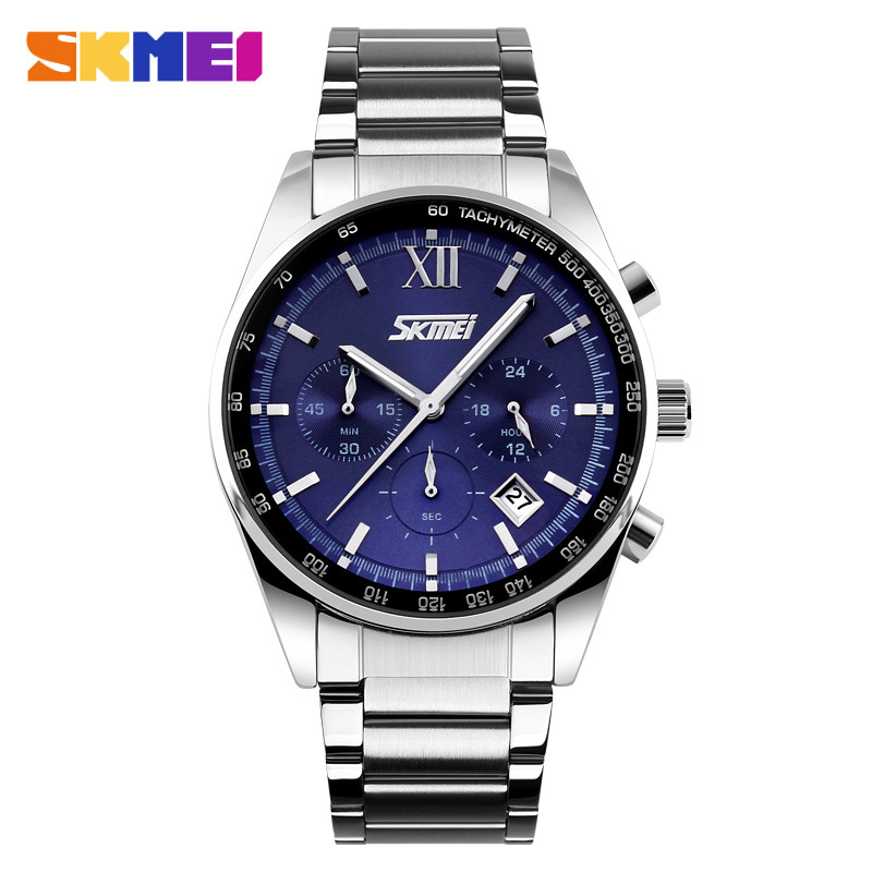 лучшая цена SKMEI Men Fashion Luxury Clock Watch Stainless Steel Strap for Man Top Brand Watches Business Wristwatch relogio masculino 9096