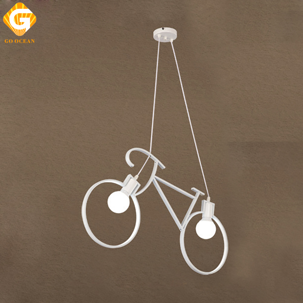GO OCEAN Pendant Lights Rope Lamp Bicycle Iron Loft Lights White Modern Pendant Lamps For Living Room Hanging Lamps