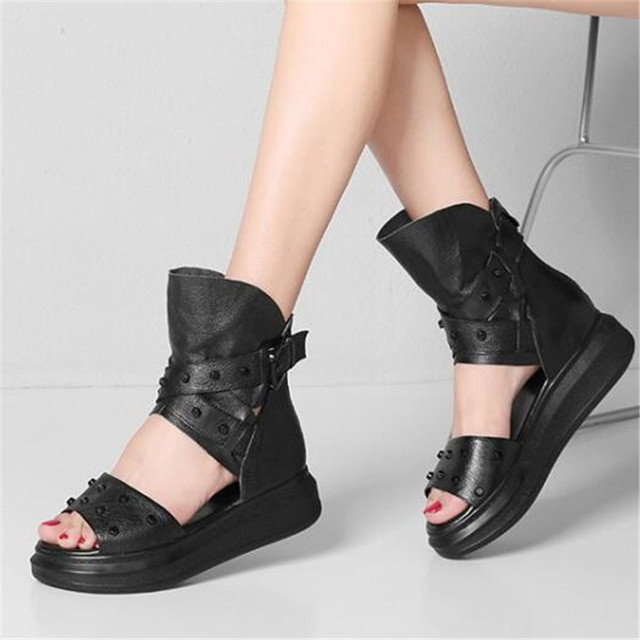 392871cbd95b PXELENA 2018 Summer Leather Thick Platform Gladiator Sandals Women Shoes  Rivet Punk Rock Gothic Creeper Rome Lady Sandals Buckle