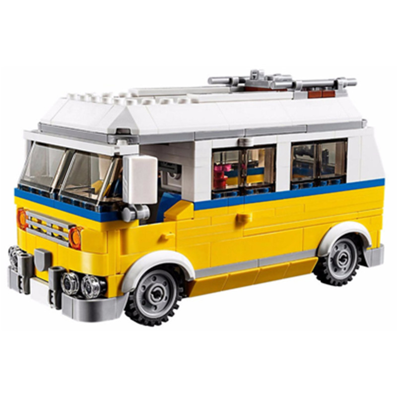 424pcs Diy Creative Series The Sunshine Surfer Van Set Blocks Bricks Christmas Toys For Children Compatible With playmobil gifts