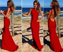 2016 Summer Sexy Women Backless Fishtail Fitted Bodycon Long Maxi font b Dresses b font Plus