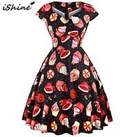 IShine Plus Size 3XL Women Vintage Cake Print Dress Hepburn 50s 60s V Neck Retro Rockabilly
