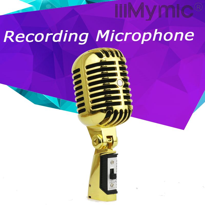 Prix pour Top Qualité! professionnel Or Couleur Vintage Style Dynamique Microphone Vocal Mic Classique Microfone Microphone Mic