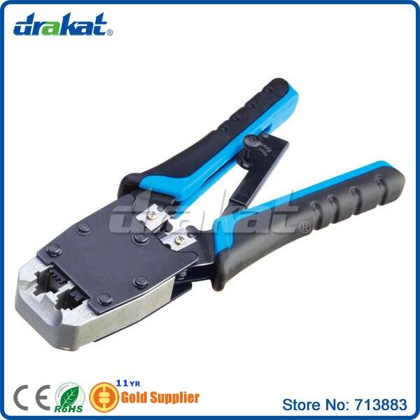Сеть и телефонный кабель-гильзой обжимной инструмент для RJ45 RJ11 8 P 6 P Plug С Храповым