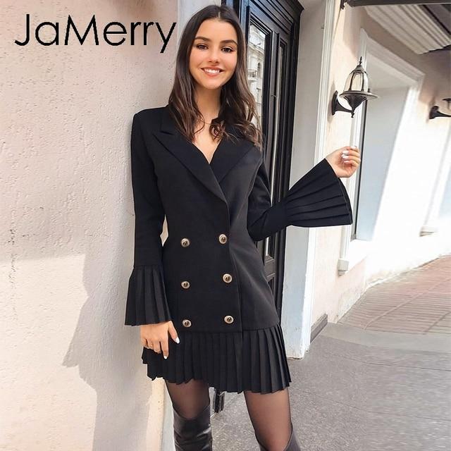 JaMerry VINTAGE ruffled คู่ผู้หญิงสำนักงานเลดี้ Casual Blazer สีดำฤดูใบไม้ร่วงฤดูหนาว Slim ทำงานชุด