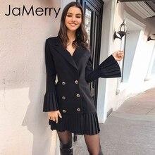 JaMerry Vintage ruffled double breasted women dress Office lady casual blazer black dress Autumn winter slim work wear dresses