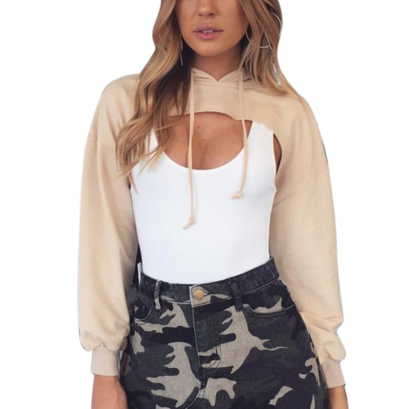 Women Sweatshirt Cut Out Crop Tops Hoodies  Fashion Street Women Casual Moletom Front Hollow Long Sleeve Solid Cool Clothing