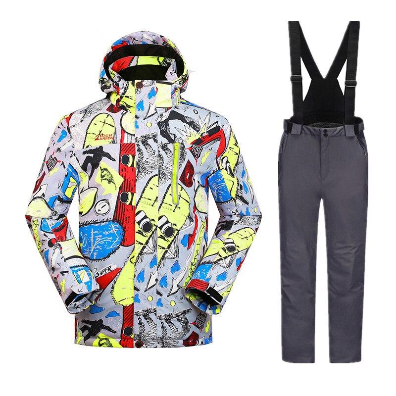 Russo Inverno Vestiti di Sport degli uomini Caldo Impermeabile Tuta Da Sci Per Gli Uomini Snowboard Set Degli Uomini di Snowboard Giubbotti Pantaloni Tuta S -3XL