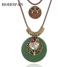 цена на Vintage Alloy Tree of Life With Wood Pendant Necklace Long Sweater Chain Wooden Necklace Fashion Jewelry For Women Girls 2019
