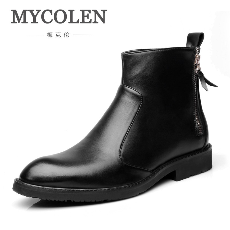 MYCOLEN New Brand Men Boots Comfortable Warm Waterproof Quality Fashion Ankle Boots Casual Men Leather Bota Masculina Couro