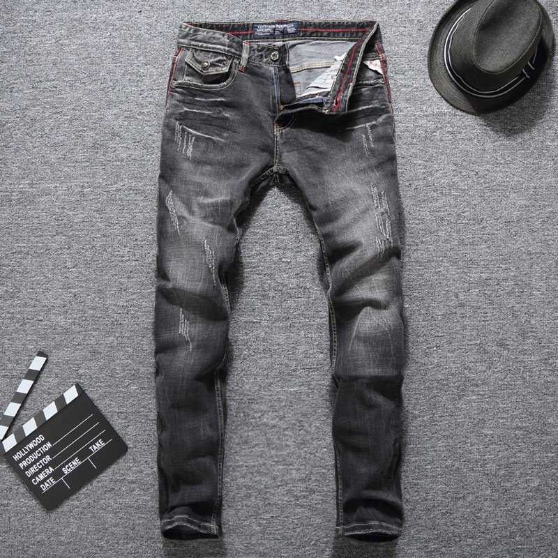 Dropshipping European Vintage Mens Jeans Black Gray Color Fashion Slim Fit Men Jeans High Quality Brand Ripped Jeans Men Pants
