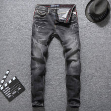 Italy Style Men Jeans Gray Slim Fit Denim Pants Classical Jeans homme Fashion Streetwear Hip Hop Trousers Ripped Jeans hombre new fashion men patchwork jeans personality punk high street men ripped denim trousers slim fit zipper fly homme jeans pants