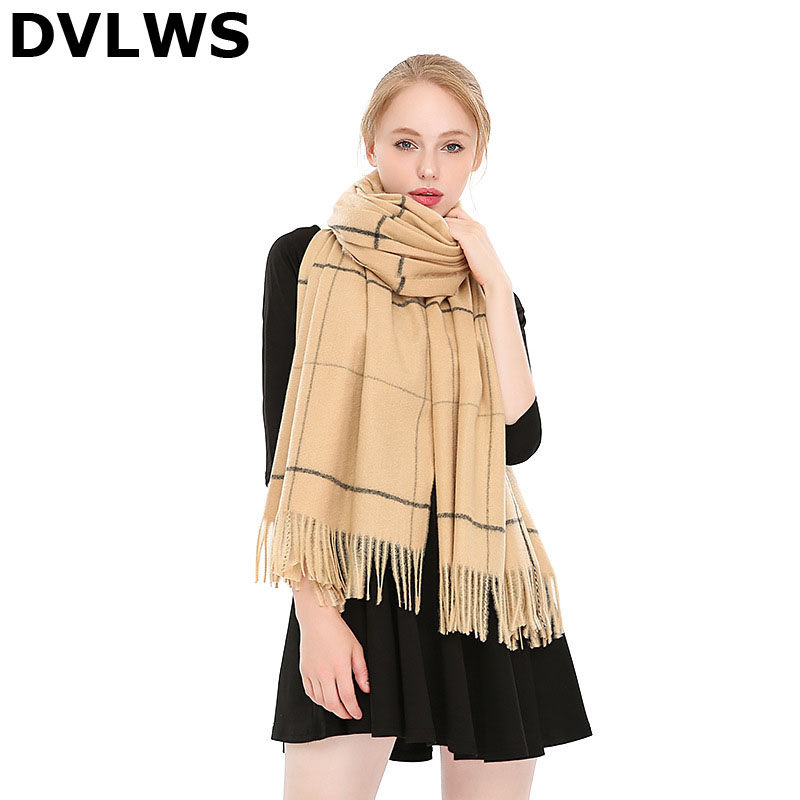 2019 New Style Big Plaid Cashmere Scarf Warm Thick Shawl Scarf Dual Use
