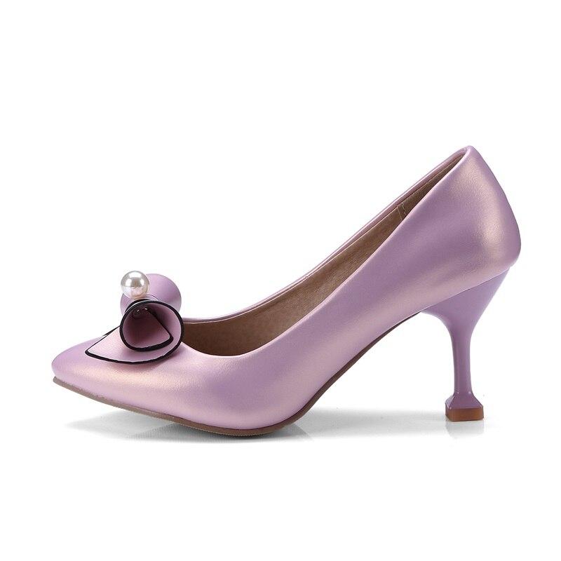 Mujer Parte Fuera Punta Mujeres De Tacones Slip Las Bombas pink white Alto Los Primavera Nueva Delgados Apricot Pajarita Egonery Superficial Moda on Zapatos Sexy EfqHPz