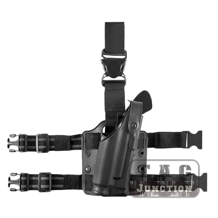 Tactical 6304 ALS SLS Auto Bloqueio Mid-Passeio de Retenção de Nível III Dever Mão Direita Gota Leg Holster w/ luz Sentinela para Glock 17 22